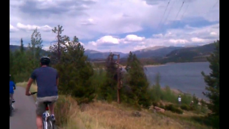 Biking around Dillon lake, an 18 mile ride.  No sound, this is from Alex's cell phone and the sound got lost in translation...