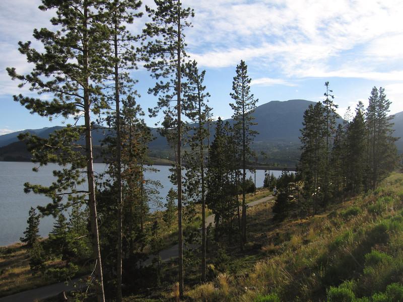 View of bike path around lake