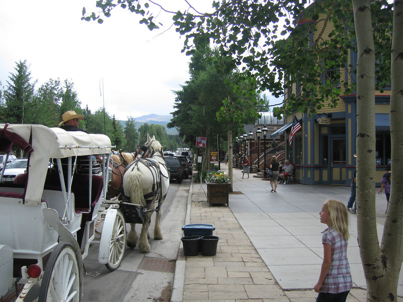 Sydney, at right, in downtown Breck.