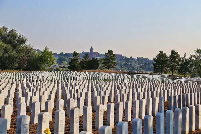 Fort Logan National Cemetery with Loretto Denver Center in Background
