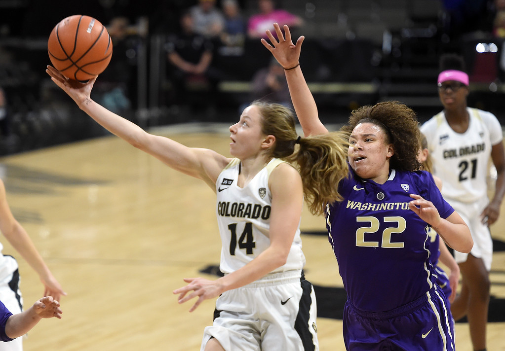 . Kennedy Leonard, of CU, drives past Khayla Rooks, of Washington.  Cliff Grassmick / Staff Photographer/ February 16, 2018