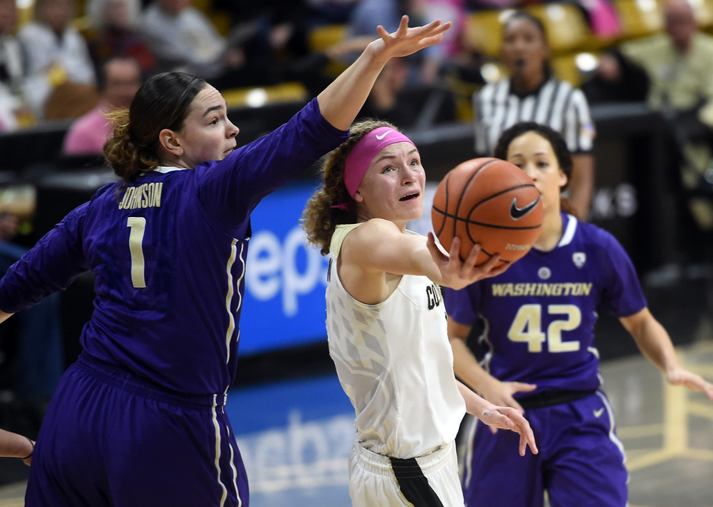 . Alexis Robinson, of CU, shoots under Fapou Semebene, of Washington.  Cliff Grassmick / Staff Photographer/ February 16, 2018