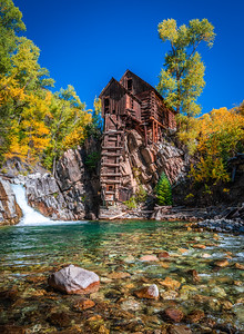 River Guardian 3: Crystal Mill Autumn Aspens: Colorado Autumn Colors Fall Foliage Fine Art Photography