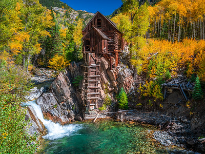 River Guardian: Crystal Mill Autumn Aspens: Colorado Autumn Colors Fall Foliage Fine Art Photography
