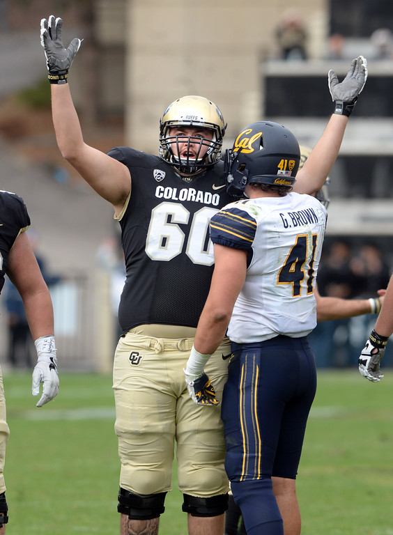 . Dillon Middlemiss, of CU, judges the field goal as good during the CU Cal Homecoming game on Saturday.  Cliff Grassmick / Staff Photographer/ October 28, 2017