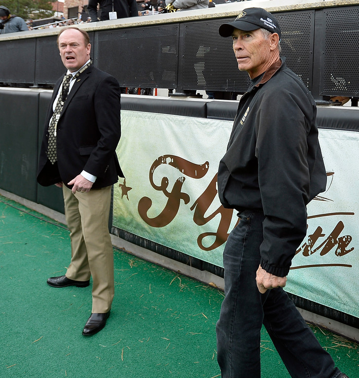. CU AD, Rick George, and former CU great, Bobby Anderson, during the CU Cal Homecoming game on Saturday.  Cliff Grassmick / Staff Photographer/ October 28, 2017