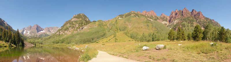 The famous view of the Maroon Bells is only a small portion of the view from along the Moraine Lake trail. Sievers Mountain forms the right skyline of this image.