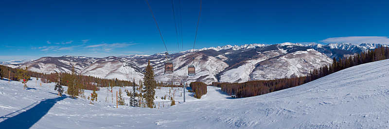 Eagle Bahn Gondola, Lionshead Village in the Vail Valley and the Gore Range on the skyline.<br /> February 28, 2011<br /> Vail, Colorado<br /> (3:1 aspect ratio)