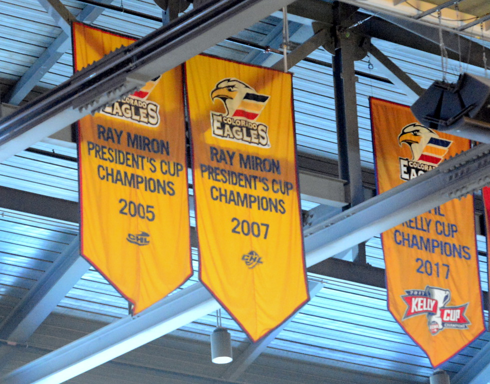 . The Colorado Eagles will add another championship banner to the rafters of the Budweiser Events Center after winning the ECHL Kelly Cup for the second year in a row. Next season, the team moves into the AHL as the top affiliate of the Colorado Avalanche. (Mike Brohard/Loveland Reporter-Herald).