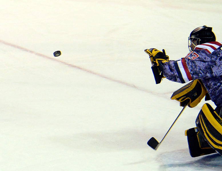 Colorado Eagles goalie Clarke Saunders blocks a shot during their game against the Reading Royals at the Budweiser Events Center on Wednesday, Nov. 2, 2016, in Loveland. (Photo by Jenny Sparks/Loveland Reporter-Herald)