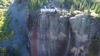 Drone view from distant Telluride to the Falls