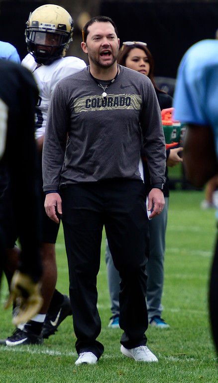 . BOULDER, CO - April 24, 2019: Tyson Summers, defensive coordinator, at CU Spring football practice on April 24, 2019. (Photo by Cliff Grassmick/Staff Photographer)