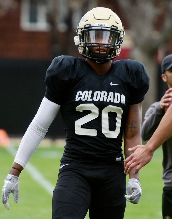. BOULDER, CO - April 24, 2019: RB, Deion Smith, at CU Spring football practice on April 24, 2019. (Photo by Cliff Grassmick/Staff Photographer)