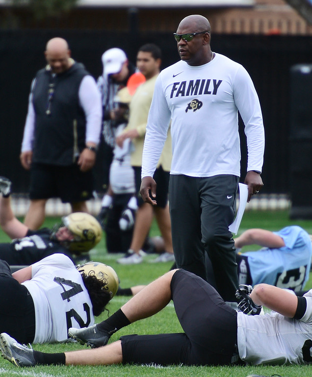 . BOULDER, CO - April 24, 2019: CU head coach, Mel Tucker,  at CU Spring football practice on April 24, 2019. (Photo by Cliff Grassmick/Staff Photographer)