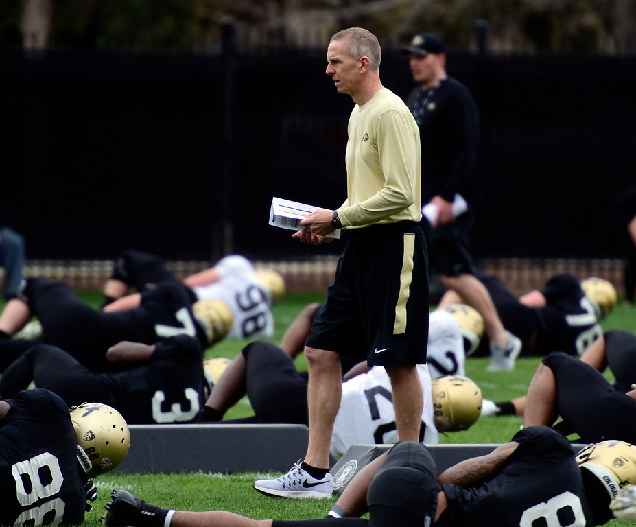 . BOULDER, CO - April 24, 2019:  Offensive Coordinator, Jay Johnson, at CU Spring football practice on April 24, 2019. (Photo by Cliff Grassmick/Staff Photographer)