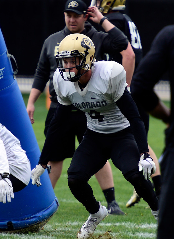 . BOULDER, CO - April 24, 2019: CB, Dante Wigley, at CU Spring football practice on April 24, 2019. (Photo by Cliff Grassmick/Staff Photographer)