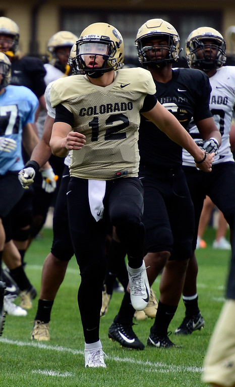 . BOULDER, CO - April 24, 2019:   CU QB, Steven Montez,  at CU Spring football practice on April 24, 2019. (Photo by Cliff Grassmick/Staff Photographer)