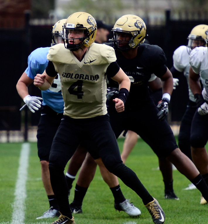 . BOULDER, CO - April 24, 2019:  CU QB, Sam Noyer,  at CU Spring football practice on April 24, 2019. (Photo by Cliff Grassmick/Staff Photographer)