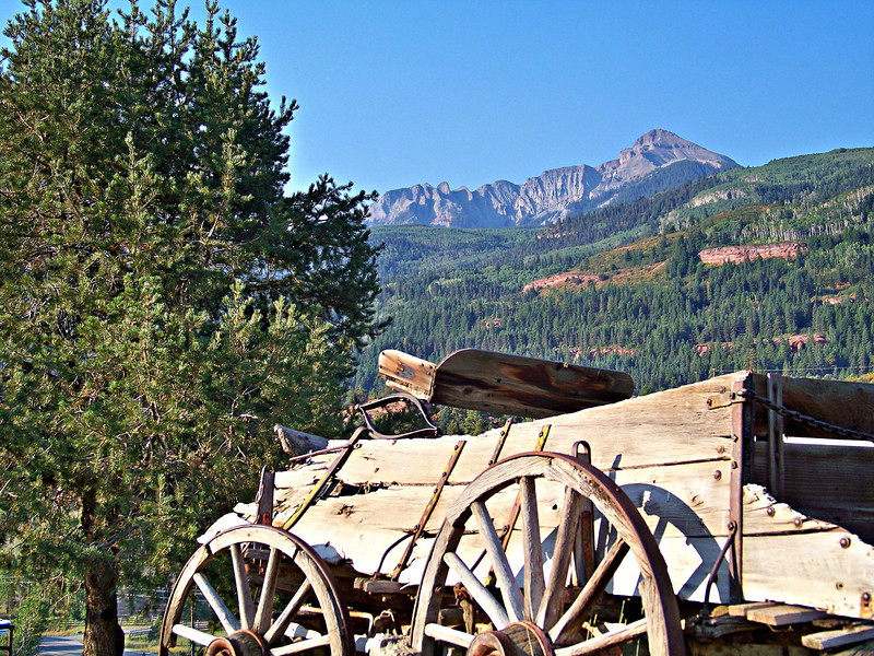 An ancient stage coach near historic Ridgway, Colorado.