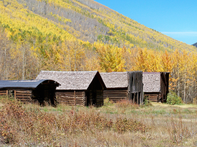"""""""Ghost"""" cabins, saloons and stores still standing in Ashcroft, near Aspen, CO."""