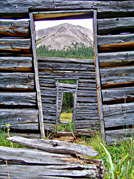 Looking through at Independence Peak, Independence, Colorado (est. c.1880).