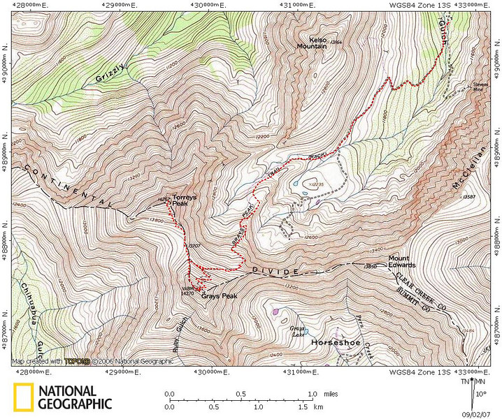 Grays and Torreys Map