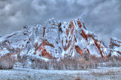 An HDR version of the front red rocks at Roxborough.  I hesitated at the artificiality / painteresque feel of this picture but I've really, really grown to enjoy it immensely.  I love the texture and the sun coming over the trees as well as the snow clouds rolling in.