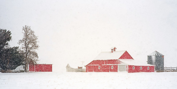 Red barn snow