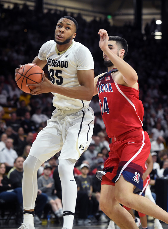 . Dallas Walton, of CU, goes to the basket on Dusan Ristic, of Arizona, in the first half of an NCAA college basketball game on January 6, 2018.  Cliff Grassmick / Staff Photographer/ January 6, 2018