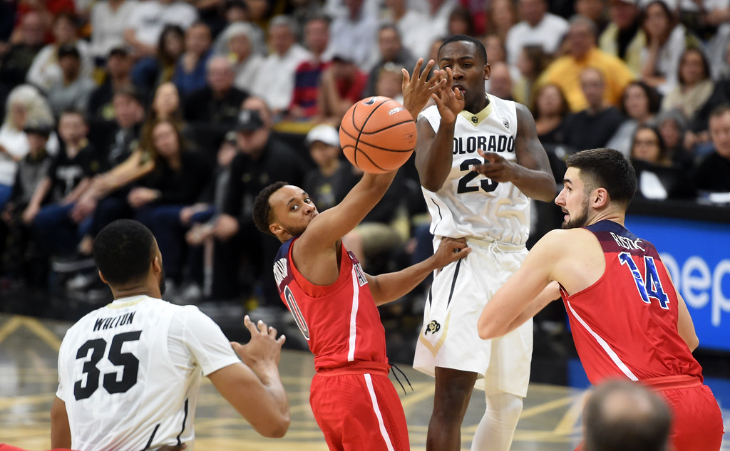 . McKinley Wright IV, passes off to Dallas Walton, of CU, in the second half of an NCAA college basketball game on January 6, 2018.  Cliff Grassmick / Staff Photographer/ January 6, 2018