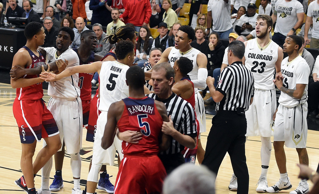 . CU and Arizoan players have a dust up in the game on January 6, 2018.  Cliff Grassmick / Staff Photographer/ January 6, 2018