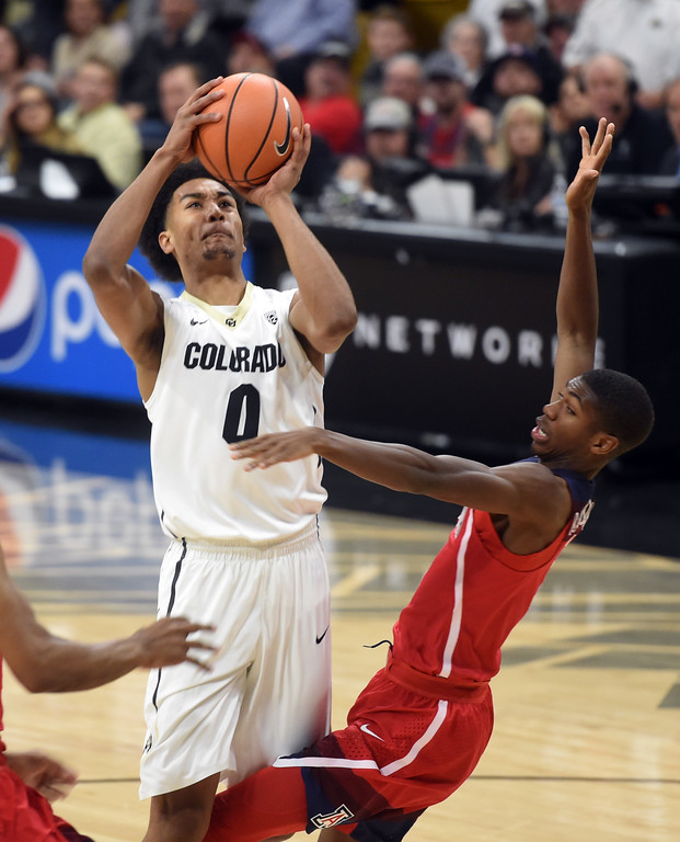 . D\'Shawn Schwartz, of CU puts up a shot on Arizona in the second half of the game on January 6, 2018.  Cliff Grassmick / Staff Photographer/ January 6, 2018