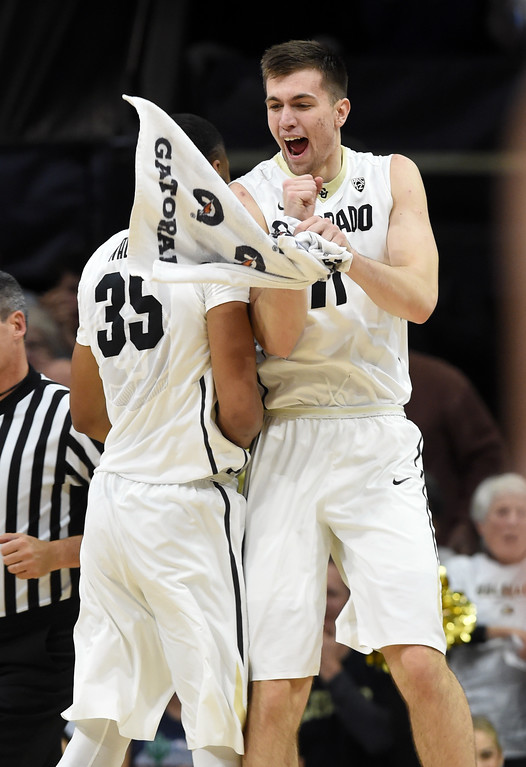 . Dallas Walton and Lazar Nikolic, celebrate in the first half of an NCAA college basketball game on January 6, 2018.  Cliff Grassmick / Staff Photographer/ January 6, 2018