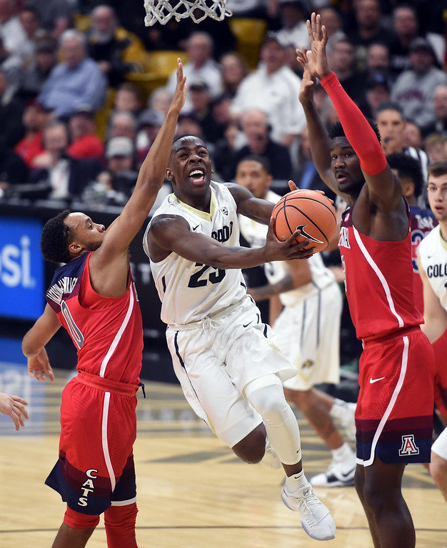. McKinley Wright IV, of CU drives to the basket against Arizona  on January 6, 2018.  Cliff Grassmick / Staff Photographer/ January 6, 2018