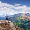 Man enjoying  beautiful mountains view.
