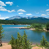 Beautiful lake in Colorado with Pikes Peak view. Crystal Creek Reservoir,  Pike National Forest, Colorado, USA.
