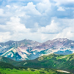 Beautiful Colorado summer mountain landscape. Dramatic cloudy sky in the background. Copy space. Rocky Mountains National Park, Colorado ,USA.