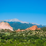 Beautiful red mountains and green hills. Garden of the Gods. Colorado Springs, Colorado,  USA