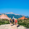 Family hiking on vacation  trip in Colorado. Beautiful red mountains and green hills in Colorado. Garden of the Gods, Colorado Springs, Colorado,  USA