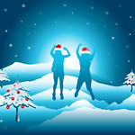 Girls with hands up jumping and having fun on the top of mountain in the snow. Friends on winter break vacation.  Vector illustration. Editable, Colorado USA.