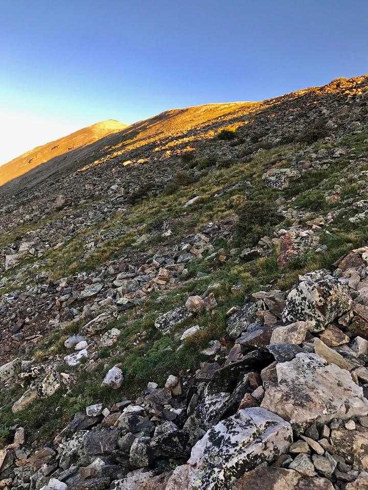 Alpenglow on the summit.