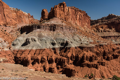 Layered sandstone in Capitol Reef National Park.