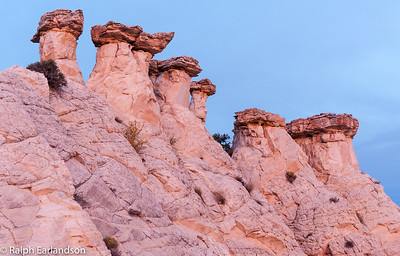 Pastel colors appear on these hoodoos at sunrise.