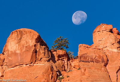 The setting moon over a notch in the Circle Cliffs.