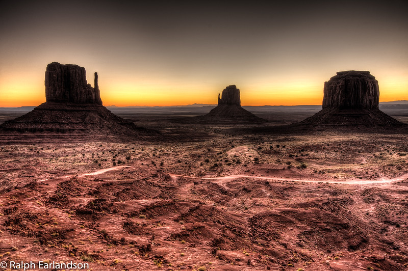 High dynamic range composite of the Mittens and Merrick Butte at daybreak.