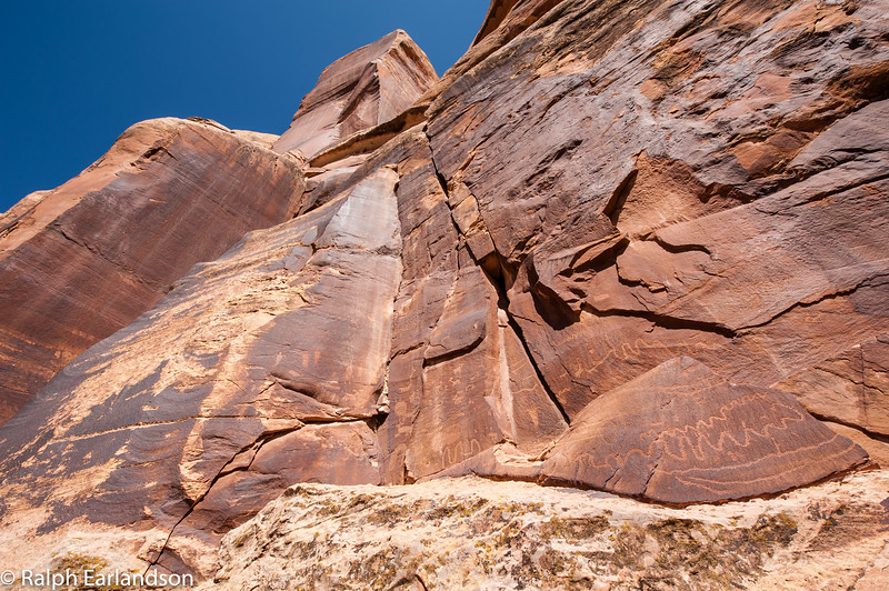 A cliff with petroglyphs near Canyonlands National Park.