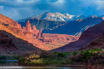 Fisher Towers and the La Sals.  The Colorado River is in the foreground.