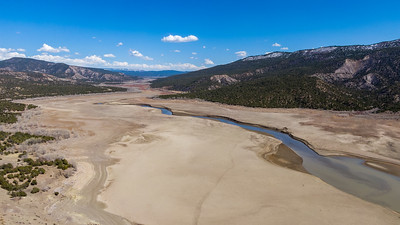 Aerial view of Navajo Lake along the San Juan River in southern Colorado on April 2, 2021. Photo by Mitch Tobin/The Water Desk.