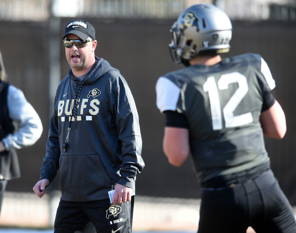 . QB coach, Kurt Roper, at practice on Wednesday. For more photos, go to Buffzone.com, Cliff Grassmick  Photographer  February 28, 2018