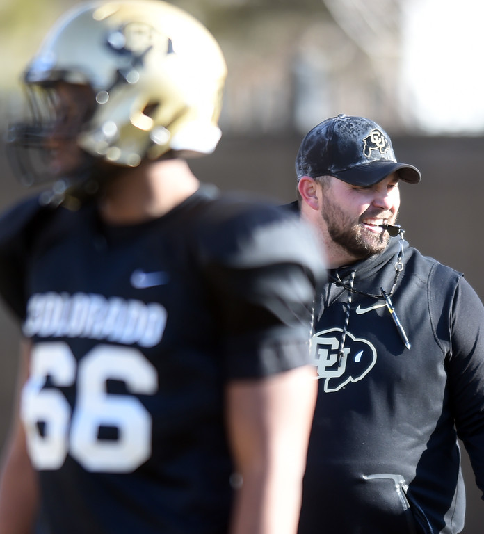 . CU assistant, Klayton Adams, at practice. For more photos, go to Buffzone.com, Cliff Grassmick  Photographer  February 28, 2018